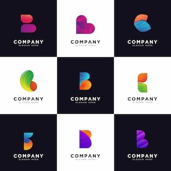 Coleção de logotipo b, logotipos com letra maiúscula b da empresa gradiente