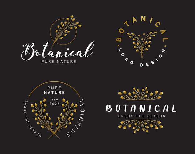 Coleção de logotipo botânico floral preto e dourado