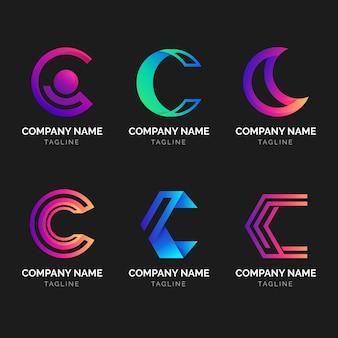 Coleção de logotipo c em gradiente
