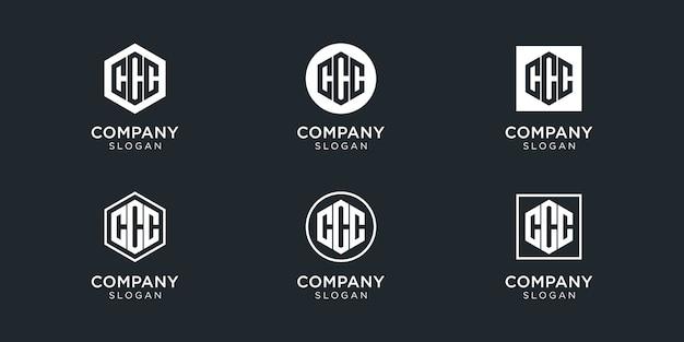 Coleção de logotipo ccc com letra de monograma moderna para empresa