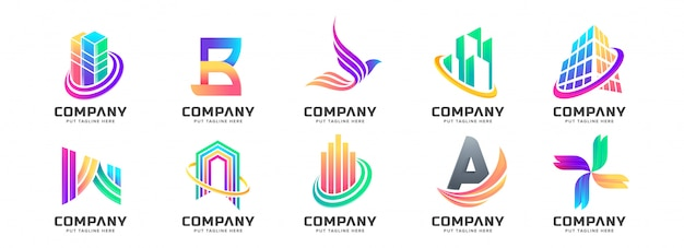 Coleção de logotipo colorido abstrato