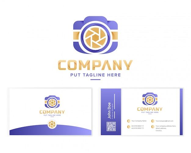 Coleção de logotipo colorido câmera criativa com cartão de visita