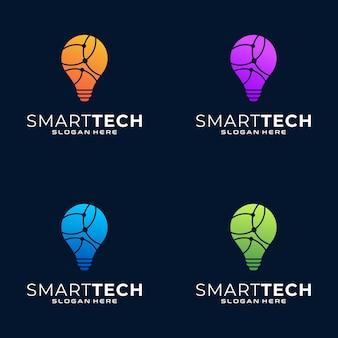 Coleção de logotipo colorido de tecnologia inteligente