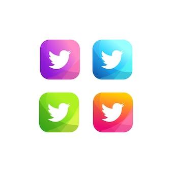 Coleção de logotipo colorido do twitter