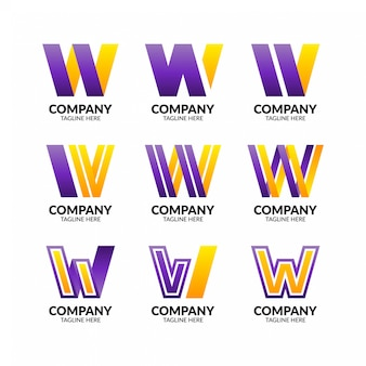 Coleção de logotipo colorido letra w