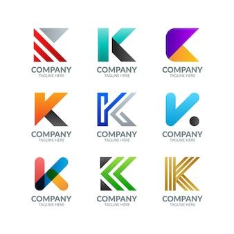 Coleção de logotipo colorido moderno com letra k