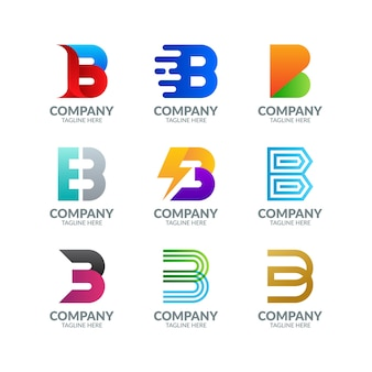 Coleção de logotipo colorido moderno da letra b