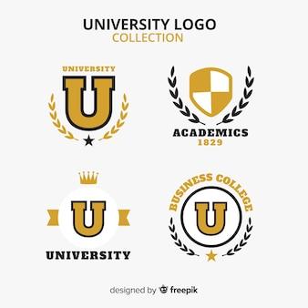 Coleção de logotipo colorido universidade com design plano