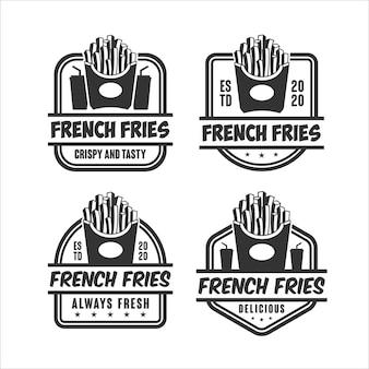 Coleção de logotipo com design de batatas fritas