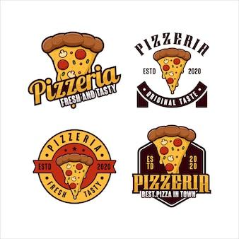 Coleção de logotipo com design de crachá de pizzaria