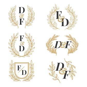 Coleção de logotipo com monograma de casamento desenhado à mão