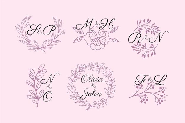 Coleção de logotipo com monograma de casamento