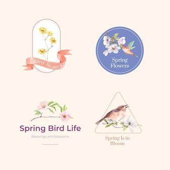 Coleção de logotipo com pássaros e conceito de primavera