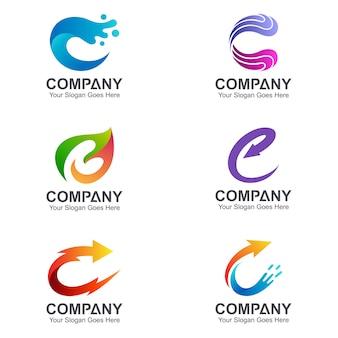 Coleção de logotipo criativo letra c