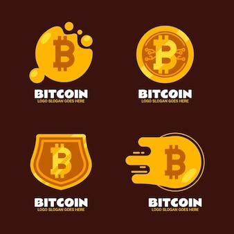 Coleção de logotipo criptográfico de design plano