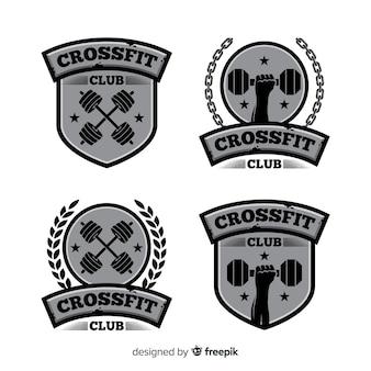 Coleção de logotipo crossfit design plano
