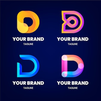 Coleção de logotipo d colorido gradiente