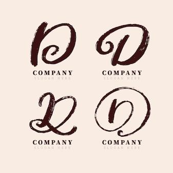 Coleção de logotipo d pintada à mão
