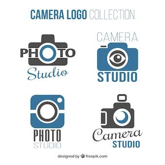 Coleção de logotipo da câmera azul e preta