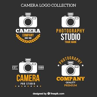 Coleção de logotipo da câmera branca e amarela