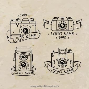 Coleção de logotipo da câmera desenhada à mão