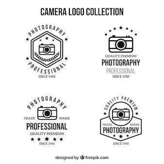 Coleção de logotipo da câmera em preto e branco