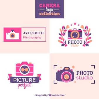 Coleção de logotipo da câmera rosa