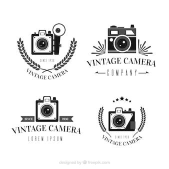 Coleção de logotipo da câmera vintage preto e branco