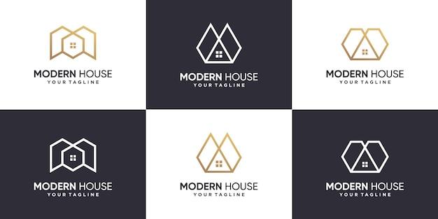 Coleção de logotipo da casa com conceito de linha premium vector