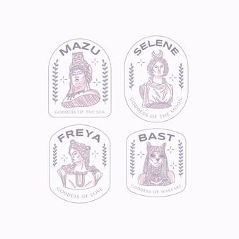 Coleção de logotipo da deusa de design plano