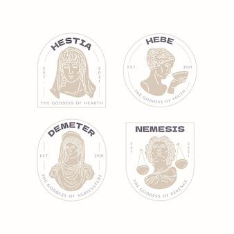 Coleção de logotipo da deusa plana