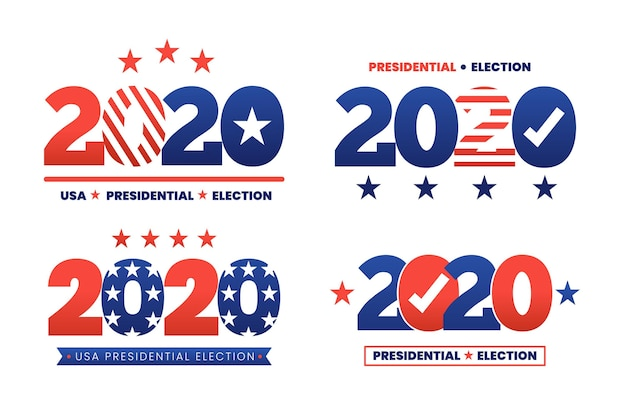 Coleção de logotipo da eleição presidencial dos eua de 2020