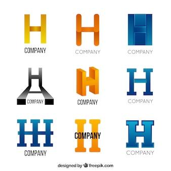 Coleção de logotipo da letra abstrata h