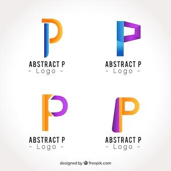 Coleção de logotipo da letra abstrata p
