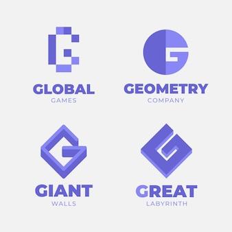 Coleção de logotipo da letra g de design plano