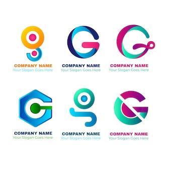 Coleção de logotipo da letra g gradiente