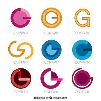 Coleção de logotipo da letra g moderna