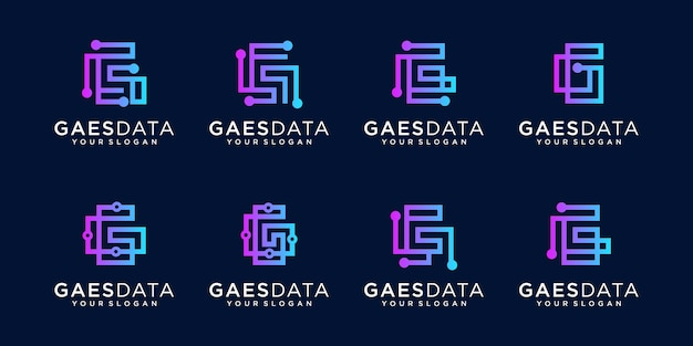Coleção de logotipo da letra g para ícone plano de tecnologia e negócios