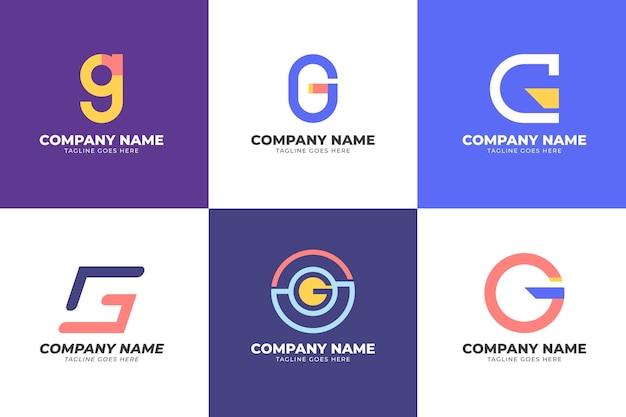 Coleção de logotipo da letra g plana