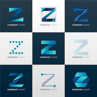 Coleção de logotipo da letra gradiente #z