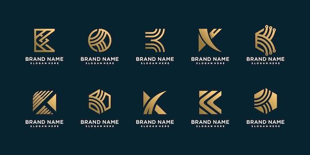 Coleção de logotipo da letra k para empresa dourada