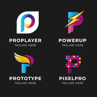Coleção de logotipo da letra p gradiente