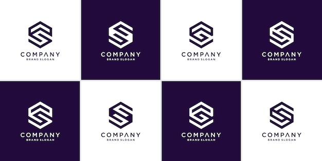 Coleção de logotipo da letra s com conceito geométrico para empresa ou pessoa premium vector