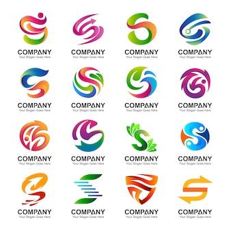 Coleção de logotipo da letra s em várias variações