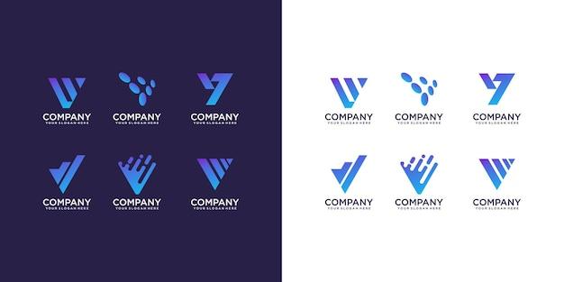 Coleção de logotipo da letra v
