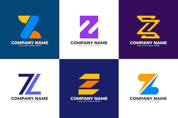 Coleção de logotipo da letra z design plano