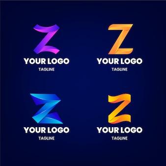 Coleção de logotipo da letra z gradiente