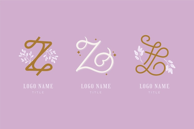 Coleção de logotipo da letra #z pintada à mão