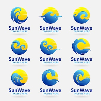 Coleção de logotipo da onda do sol