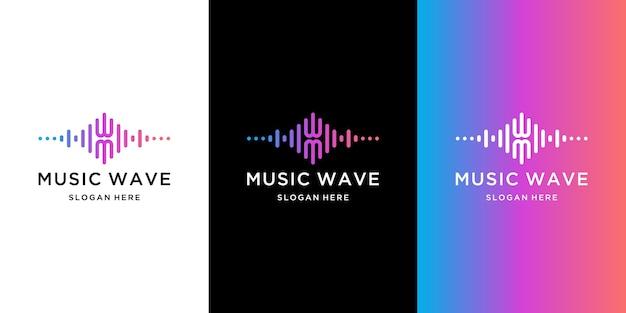 Coleção de logotipo da onda musical com estilo gradiente